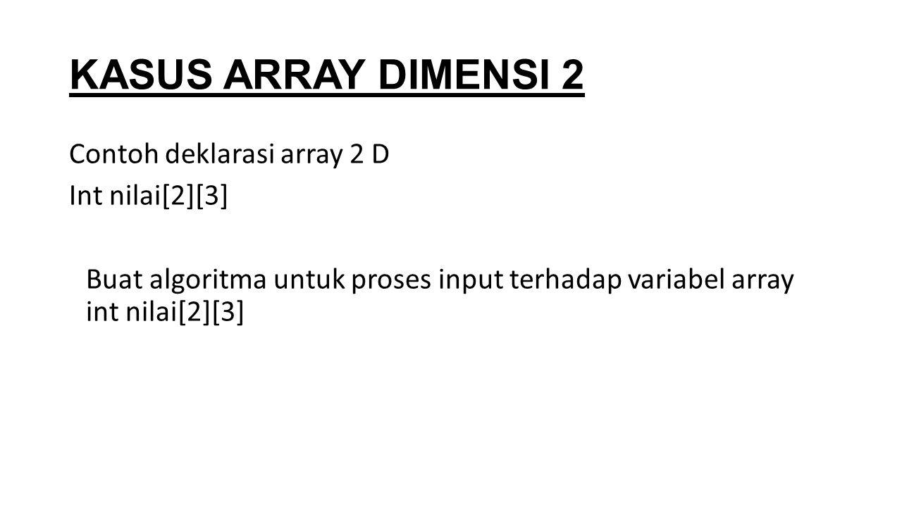KASUS ARRAY DIMENSI 2 Contoh deklarasi array 2 D Int nilai[2][3] Buat algoritma untuk proses input terhadap variabel array int nilai[2][3]